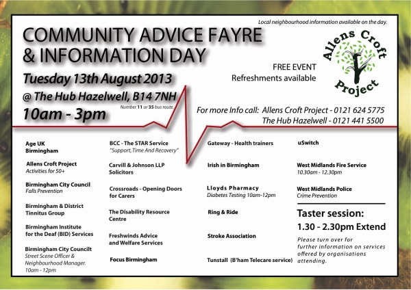 Community Advice Event Poster FRONT